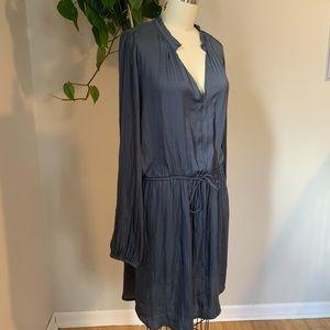 Slate Blue Long Sleeve Dress with pull waist